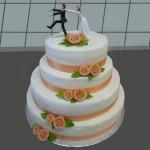 Hochzeitstorte 4 Stock mit Brautpaar