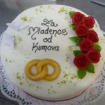 Hochzeitstorte Rund mit Rosen und Ringen