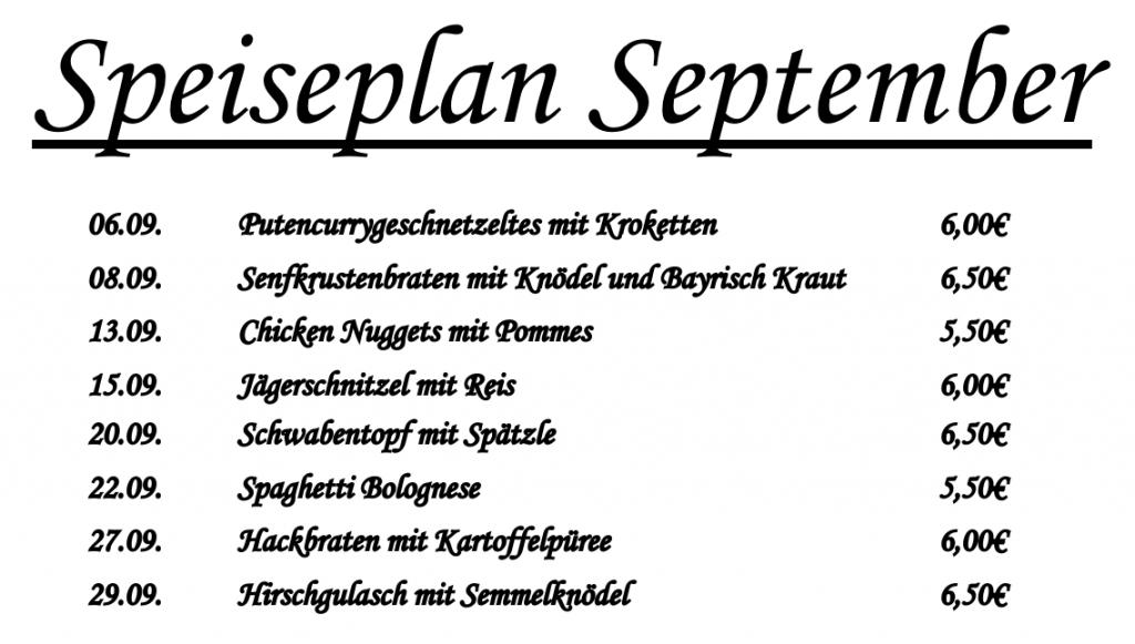 Speiseplan September